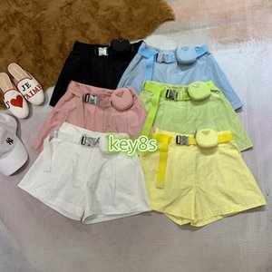 2020 high end women girls shorts Solid color shorts with belt bag Leather belt fashion women casual shorts Jogging pants 6 colors S-L