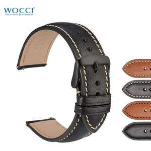 WOCCI Watch Band For Men Orologi sportivi 18mm 20mm 22mm Quick Release cinturino in vera pelle di vitello con fibbia nera