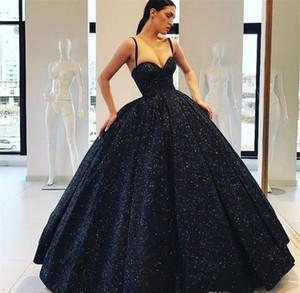 Pas cher bretelles spaghetti robe de Quinceanera Dark Navy Blue Princess formelle Sweet 16 Âges filles Prom Party Pageant robe plus la taille sur mesure