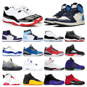 Mens basketball shoes 1s UNC obsidian Varsity Royal 4s COURT PURPLE 5s Alternate Grape 11s White Bred Concord sports sneaker trainer fashion