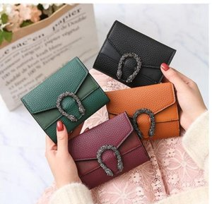 sacchetto della carta borsa femminile tre volte piccolo portafoglio Europa e la sezione a corto femminile Stati Uniti dio del vino di colore solido Portafoglio donna