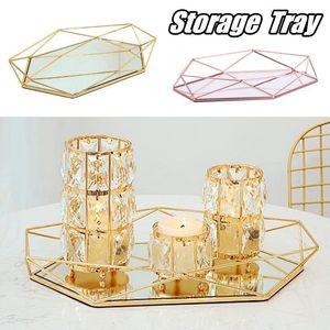 Vintage de vidro colorido do metal de armazenamento bandeja de ouro Oval pontilhada prato de frutas de mesa pequeno Itens de jóias mostrar bandeja Espelho