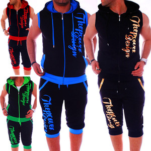 6 couleurs Mens Survêtement capuche Vestes Gilet sans manches Lettre d'impression Hip Hop New Style Fitness Shorts d'été Vente chaude