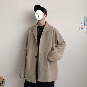 2020 Yeni Bahar Ve Sonbahar Japanese Style Harajuku Erkek Casual Katı Renk Küçük Suit Yakışıklı Ceket Gevşek Yüksek Kalite