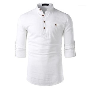 Camicie Moda Uomo Cotone-Lino maniche lunghe Mens risvolto Neck Mens Solid top con tasche