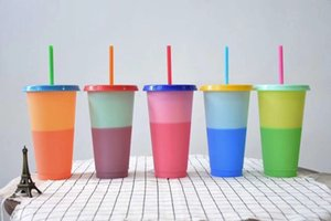Can Custom LOGO 710ML (24oz) Thermochromic Cup Plastic Color Change Mug Candy Colors Reusable Drinking Tumblers with Lid and Straw