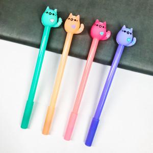 Kawaii 0.5mm colore della caramella animale gatto cuore penne gel inchiostro nero penna di scrittura per la scuola forniture per ufficio di cancelleria regalo J190707