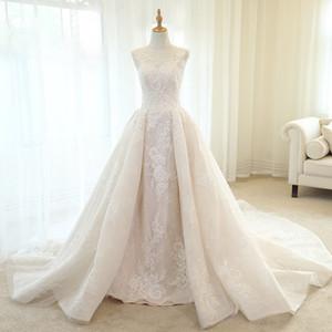 2019 Vestido De Noiva Lace Mermaid Wedding Dresses 2018 Scoop Neck Detachable Train Appliques Beaded Vintage Bridal Gown