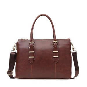 Men's Briefcase Crazy Horse Leather Men Laptop office bag Vintage Shoulder Crossbody Bags Business Handbag 14 Inch Tote