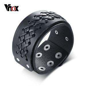 Vnox Mens Braided Leather Bracelet Wrist Cuff Wristbands Gothic Vintage Style Biker Rock Punk Male Pulseira Masculina Jewelry