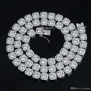 Mens 10mm Rodada Cubic Zircon Pedras Bling Tênis Cadeia Hip Hop 18inch 22inch Diamonds Pedra Colar Corrente com fecho bloqueado