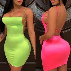 Pacote Rosa OMSJ Summer Street Neon Green Bodycon Mini Vestidos Vestidos Sexy Hips Mini Womens Party Club Vestido 2019 Vestido