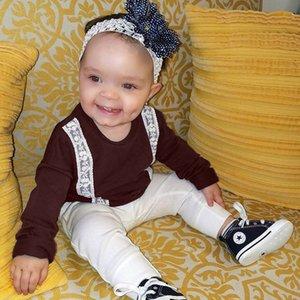 Bambini maglione vestiti del bambino delle ragazze dei ragazzi 2019 Pullover Hoody Solid Lace colore a maniche lunghe T-shirt bambini I bambini dei vestiti dei nuovi Q465