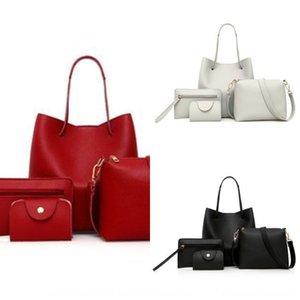 Solid color mother Four-piece shoulder style mother and child four-piece set women's bag simple shoulder bag fashion