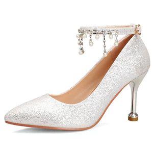 2020 high heels European brand designer Chunky Shoes new silver high heel bridal wedding crystal shoes