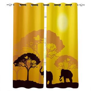 Elephant foresta giungla Arancione Finestra tende del soggiorno cucina Tende per Camera Sinistra e Destra Biparting Aperto