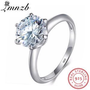 Commercio all'ingrosso 100% Solido 925 Anello D'argento 7mm 1.5 Ct Solitaire Diamant Anelli di Fidanzamento Cubic Zirconia Gioielli per le Donne LR12108