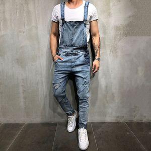Mode Herren Ripping Jeans Jumpsuits Street Distressed Hole Denim Lätzchen Overalls Für Männer Hosenträger Hosen 3 Farben Größe S-3XL