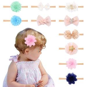 Bebé bebé de la venda floral 10 colores banda para el cabello de malla de lentejuelas arco Niños Headwear del niño de la gasa de la princesa de la flor Accesorios 060421