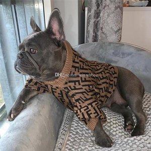 Ropa de lujo vendedor CALIENTE letra f admiten suéteres para perros gatito del perrito del Schnauzer de peluche Bulldog frises primavera envío