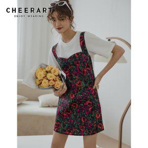 CHEERART Fake 2 Piece Floral Mini T Shirt Dress Women Patchwork Short Sleeve Casual Dress Contrast Stitch Summer Designer