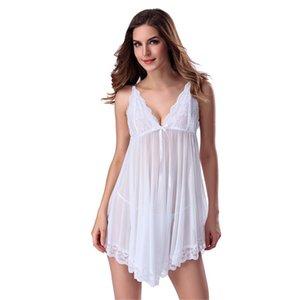 LKlady ropa interior pijamas atractivos de la falda corta del cordón atractivo de la ropa interior del desgaste perspectiva Señora de malla de gasa Camisón nuevo estilo