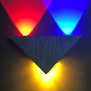 LED Wall Light 5W AC90-265V Colorful Decoration Triangle Aluminum Wall Lamps For Bedroom Home Lighting Luminaire Light Fixture 10101