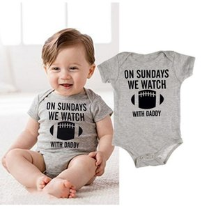 2020 Newborn Baby Boys Girls Cotton on Sundays We Watch Baseball with Daddy Letters Printed Bodysuit Jumpsuit