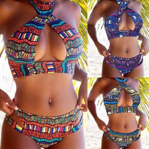 Мода Женщины Цвет печати Boho бикини Set Push-вверх Padded Bra купальник для купания Купальники
