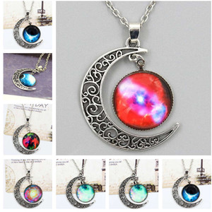 Interstellar gemstone necklace, alloy jewelry wholesale Moon Pendant DJN199 mix order Pendant Necklaces jewelry