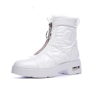 2019 Winter Boots Women Snow Boots Warm Down Shoes Easy Wear Girl White Black Zip Flat Platform Shoes Chunky Boots