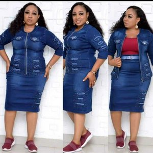 New Denim African Dresses Set For Women Dashiki 2020 Vetement Femme Ankara Plus Size Jacket And Skirt 2 Pieces African Clothing
