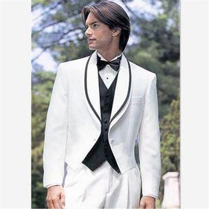 Trajes de hombre Blazers con estilo Pequeño cuello Planchos Plazo de hombre traje para la boda Moda TUXEDOS Blanco Masculino Ternos (abrigo + Pantal)