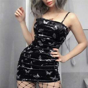 Las mujeres sin mangas atractivo de la mariposa Negro vestido de verano Imprimir honda Vestido de tirantes Mujer bodycon casual de las señoras mini vestidos nueva llegada