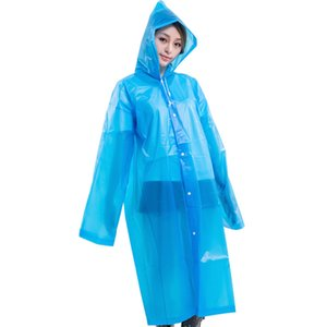 EVA Raincoat Adult Non Disposable Rainwear Household Cuff Sleeve Waterproof Raincoat Portable Travel Camping Hooded Rainwear