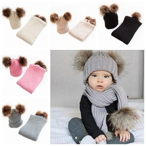 2019 kids winter hat and scarf sets baby pom poms knitted beanies hats caps wool scarves fur pompons childrens crochet bonnets wholesale