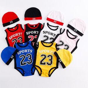Baby Basketball Jerseys Strampler Kinder Scoks Mädchen Jungen Kleidung Baumwolle Stich Overalls Infant Strampler Kinder Kleinkind Boutique Cap 0-3 BB051