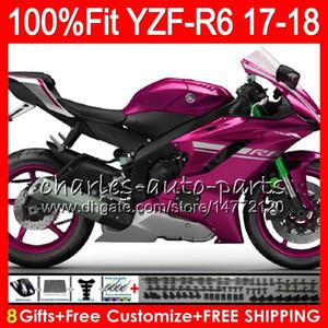 Glänzende rosafarbene heiße Einspritzung für YAMAHA YZF600 YZF R6 YZFR6 17 18 Karosserie 122HM.18 YZF 600 YZF R 6 YZF-600 YZF-R6 2017 2018 Verkleidungssatz