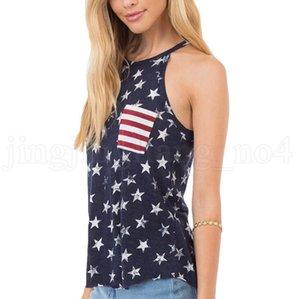 민소매 미국 국기 T - 셔츠 여성 여름 인쇄 티 느슨한 Bowknot 등이없는 패치 워크 O-목 슬링 셔츠 뜨거운 OOA6904