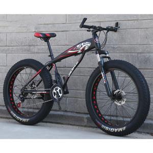 스노우 모빌 산악 자전거 24 인치 24 속도는 4.0 넓은 타이어 높은 탄소 강철 프레임을 이야기