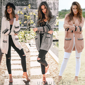 Frauen Langarm-Strickjacke Sweater Öffnen Stich beiläufige lange Tops Mantel Outwear Mode