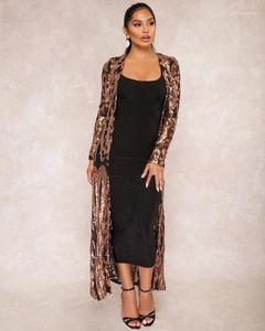 Купальный костюм Женщины Sequins Смотреть сквозь варуша Мода Пейсли с длинным рукавом Cardigan Blouse