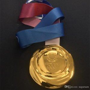 1 PC 2020 El último deporte olímpico de Tokio juegos de campeonato de concesión de la medalla de oro olímpica de 85 mm jugador insignia con la cinta