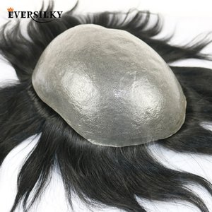 Toupees Eversilky 100% Remy Human Hair Durable PU Mens Toupee Natural Hairline Replacement System Mans Wig