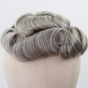 Mixed Grey Human Hair Toupee for Men Brazilian Remy Human Hair Replacement System Men's Toupee 30mm Curly Skin Toupee new