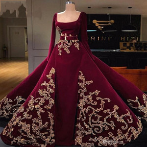 2020 manica lunga Abiti Borgogna Velvet sera Vintage scollo quadrato arabo Dubai partito convenzionale degli abiti di oro Ricamo Prom Quinceanera