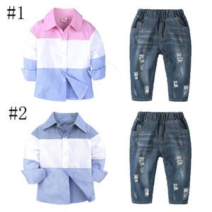 Çocuk Giyim Pamuk Twopiece Suit Gömlek Rendelenmiş Kot Uzun Kollu Pantolon Şerit Ekleme Batı Yaka Tek Göğüslü 50