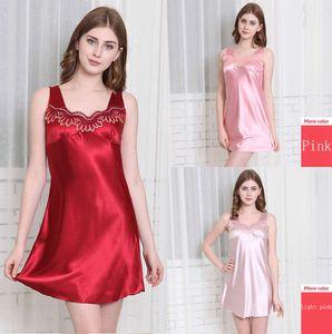 Imitation Silk Nightdress Ladies Lace Sleeveless Pajamas