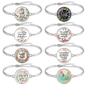 Best Selling 8 Pcs   Pack Bible Verse Bracelet Silver Color 25mm Art Glass Dome Bracelets Scripture Christian Jewelry Faith Gift