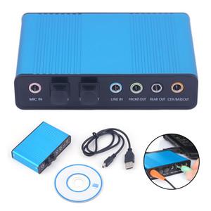 USB de sonido de 6 canales 5.1 / 7.1 Surround externa Tarjeta de sonido del ordenador portátil adaptador de tarjeta de escritorio de la tableta de audio óptico